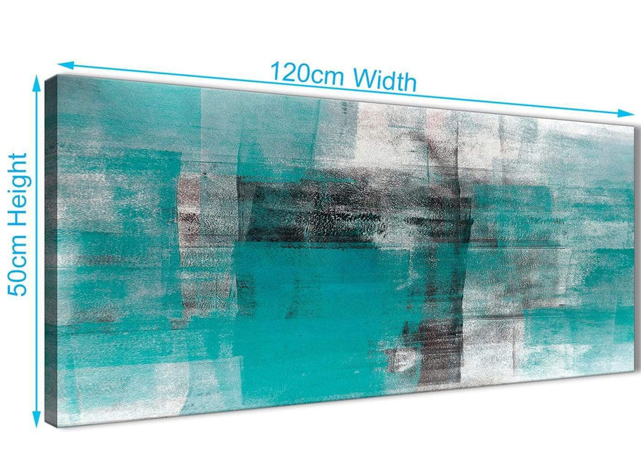 Cheap Teal Black White Painting Bedroom Canvas Wall Art Accessories - Abstract 1399 - 120cm Print