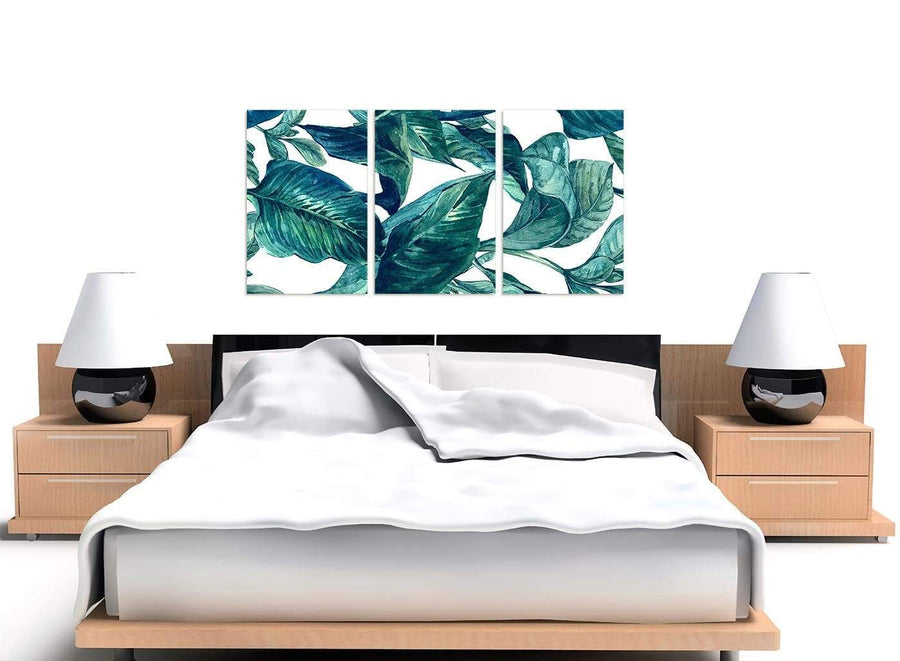 Cheap Teal Blue Green Tropical Exotic Leaves Canvas Multi 3 Panel 3325 For Your Bedroom