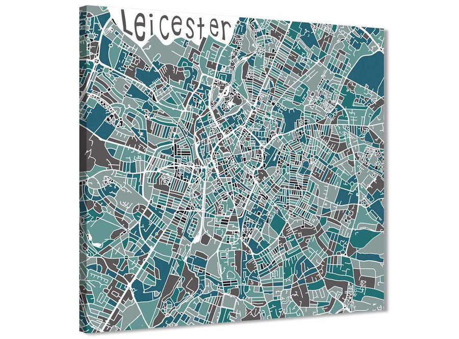 Cheap Teal Blue Street Map of Leicester - Office Canvas Wall Art Accessories - 1s453s - 49cm Square Print