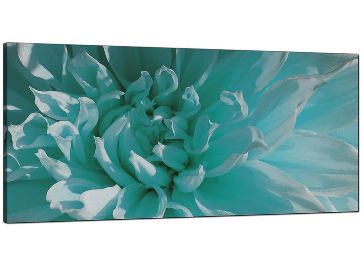 Teal Bedroom Panoramic Floral Canvas