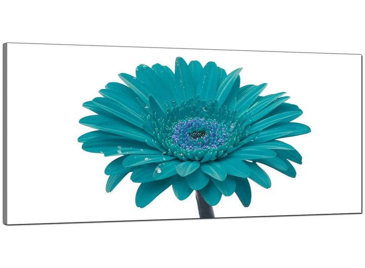 Teal Living Room Wide Floral Canvas