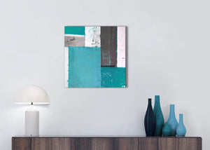 Cheap Teal Grey Abstract Painting Canvas Wall Art Modern 49cm Square 1S344S For Your Hallway