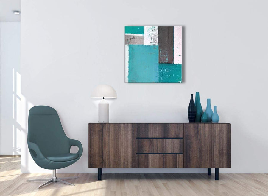 Cheap Teal Grey Abstract Painting Canvas Wall Art Modern 64cm Square 1S344M For Your Hallway
