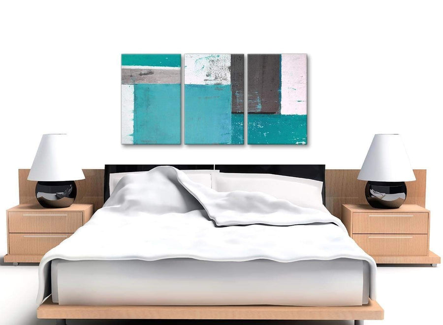 Cheap Teal Grey Abstract Painting Canvas Wall Art Split 3 Set 125cm Wide 3344 For Your Living Room