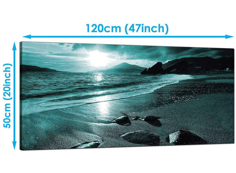 Modern Teal Panoramic Canvas of Landscape Beach