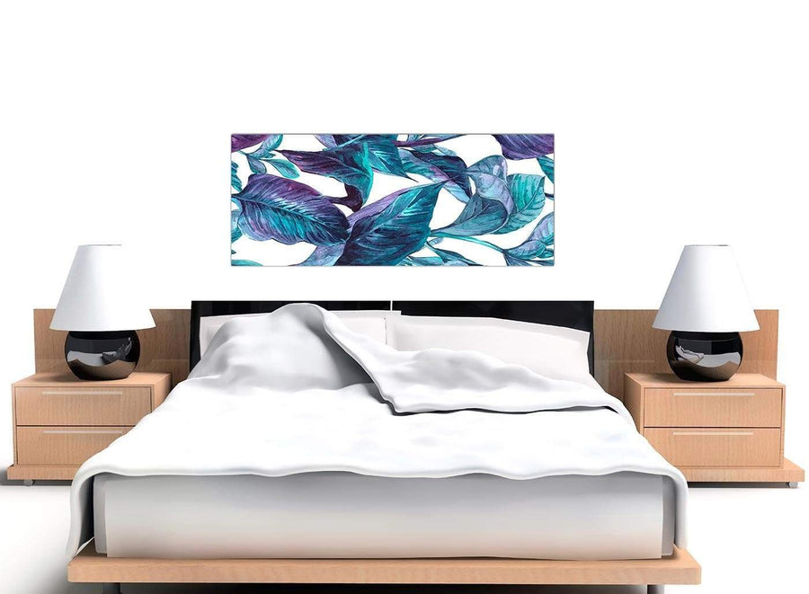 Cheap Turquoise And White Tropical Leaves Canvas Modern 120cm Wide 1323 For Your Dining Room