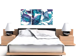 Cheap Turquoise And White Tropical Leaves Canvas Split 3 Piece 3323 For Your Kitchen