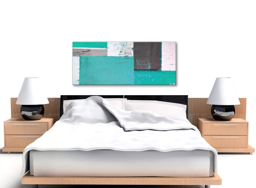 Cheap Turquoise Grey Abstract Painting Canvas Wall Art Modern 120cm Wide 1345 For Your Bedroom
