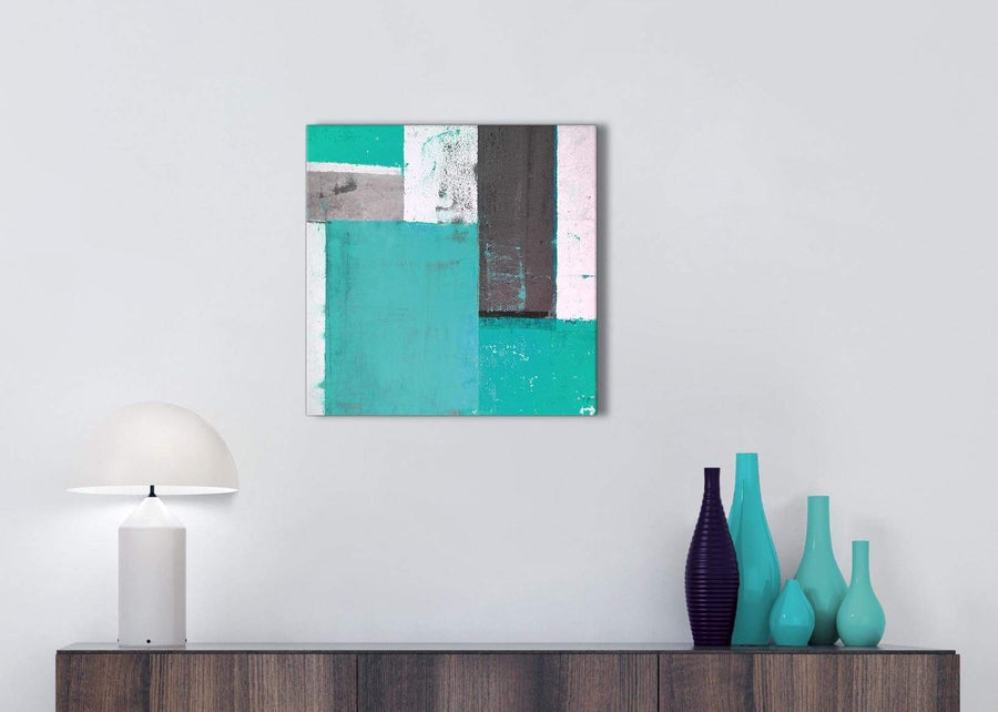 Cheap Turquoise Grey Abstract Painting Canvas Wall Art Modern 49cm Square 1S345S For Your Hallway