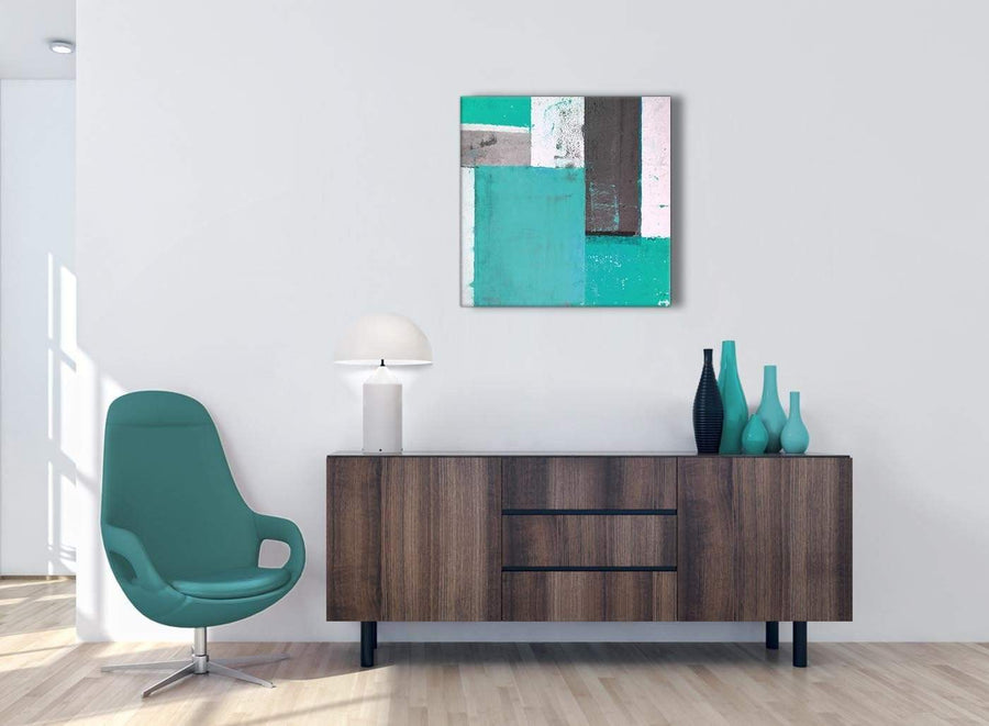 Cheap Turquoise Grey Abstract Painting Canvas Wall Art Modern 64cm Square 1S345M For Your Living Room