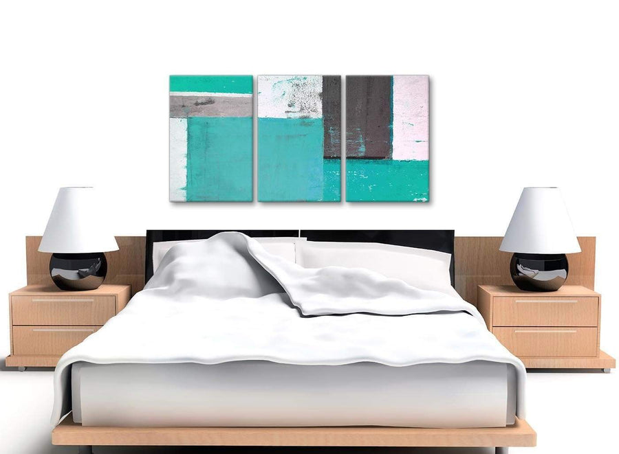 Cheap Turquoise Grey Abstract Painting Canvas Wall Art Multi Set Of 3 125cm Wide 3345 For Your Living Room
