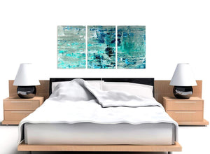 Cheap Turquoise Teal Abstract Painting Wall Art Print Canvas Split 3 Panel 3333 For Your Hallway
