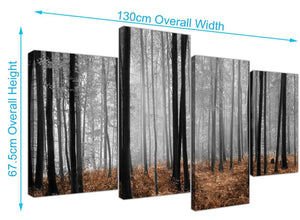 cheap wide forest woodland trees canvas prints uk black and white 4238