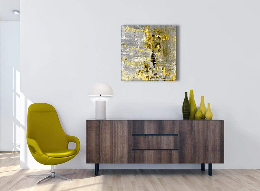Cheap Yellow Abstract Painting Wall Art Print Canvas Modern 64cm Square 1S357M For Your Living Room