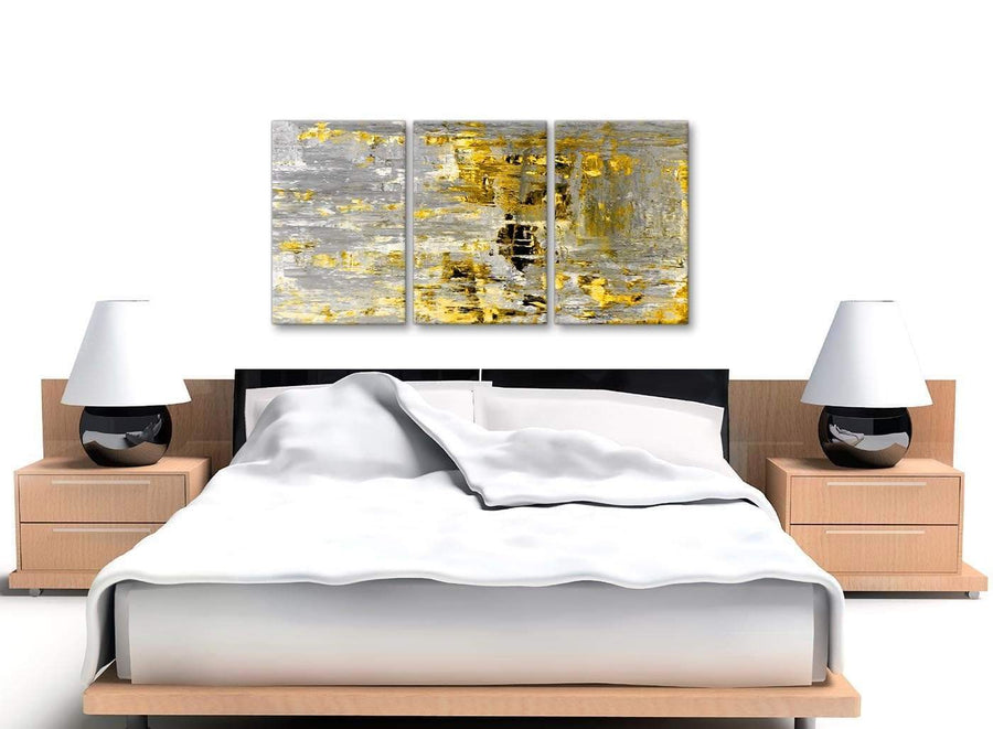 Cheap Yellow Abstract Painting Wall Art Print Canvas Split 3 Part 125cm Wide 3357 For Your Dining Room
