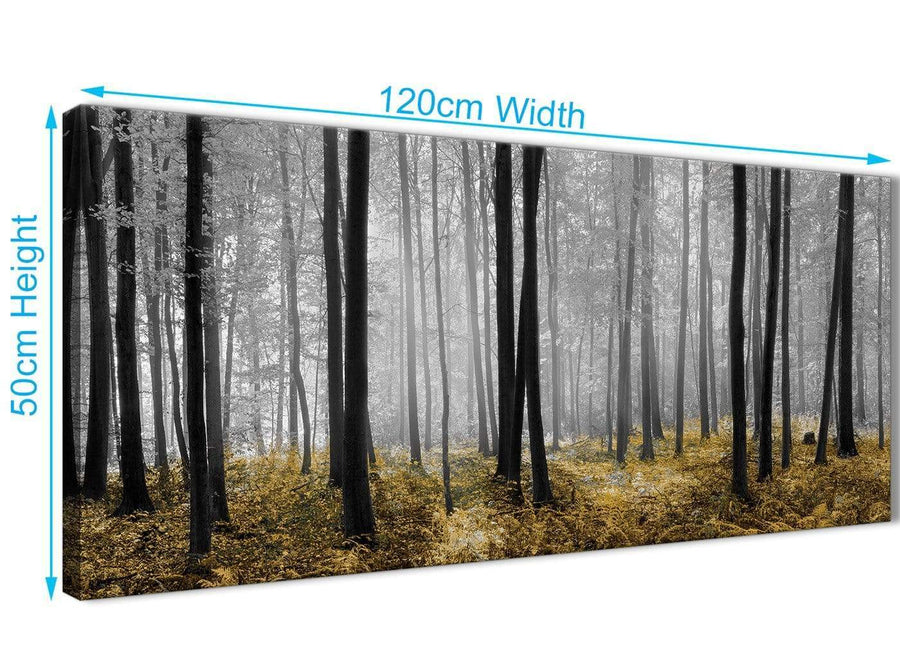 Cheap Yellow and Grey Forest Woodland Trees Living Room Canvas Pictures Accessories - 1384 - 120cm Print