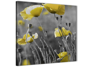 Cheap Yellow Grey Poppy Flower - Poppies Floral Canvas Bathroom Canvas Wall Art Accessories - Abstract 1s258s - 49cm Square Print