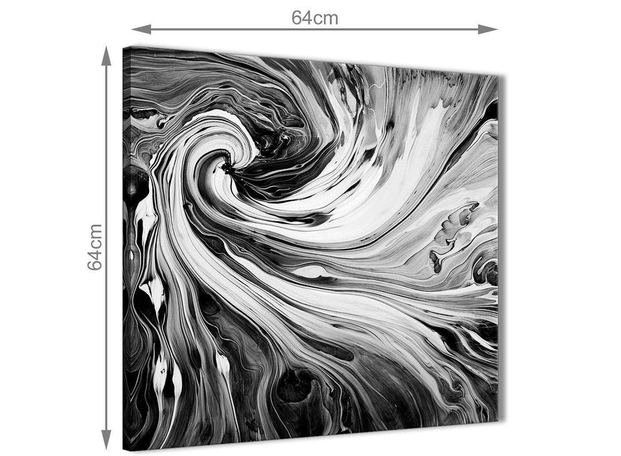 Chic Black White Grey Swirls Modern Abstract Canvas Wall Art Modern 64cm Square 1S354M For Your Kitchen