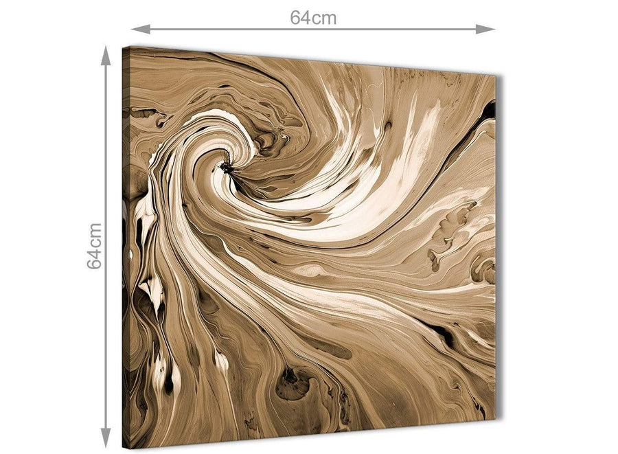 Chic Brown Cream Swirls Modern Abstract Canvas Wall Art Modern 64cm Square 1S349M For Your Dining Room