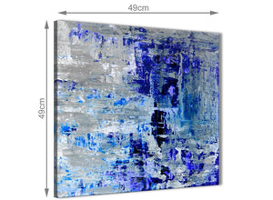 Chic Indigo Blue Grey Abstract Painting Wall Art Print Canvas Modern 49cm Square 1S358S For Your Dining Room
