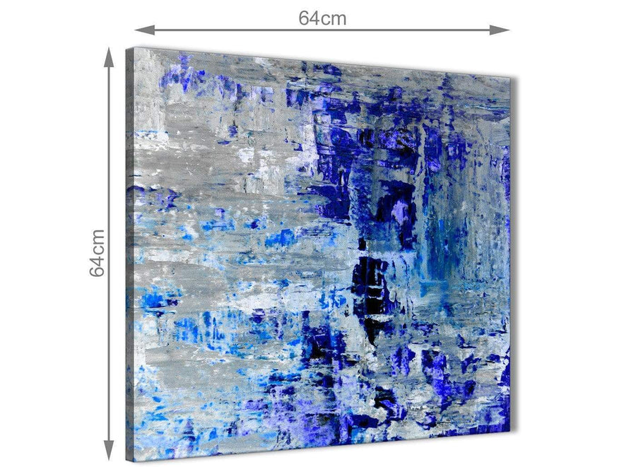 Chic Indigo Blue Grey Abstract Painting Wall Art Print Canvas Modern 64cm Square 1S358M For Your Living Room