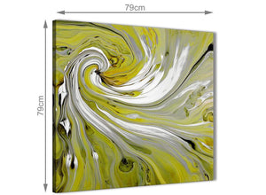 Chic Lime Green Swirls Modern Abstract Canvas Wall Art Modern 79cm Square 1S351L For Your Living Room