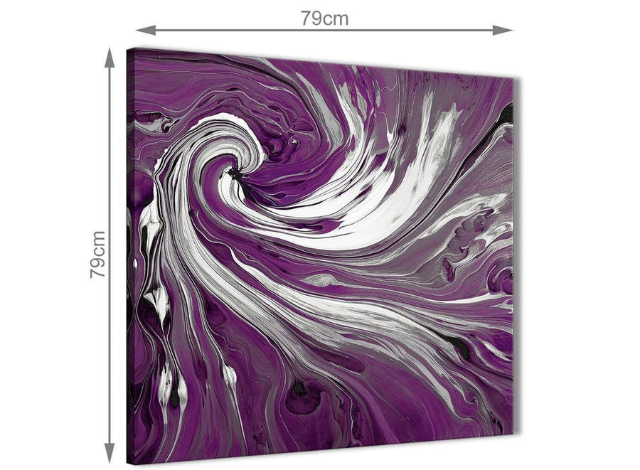 Chic Plum Purple White Swirls Modern Abstract Canvas Wall Art Modern 79cm Square 1S353L For Your Dining Room