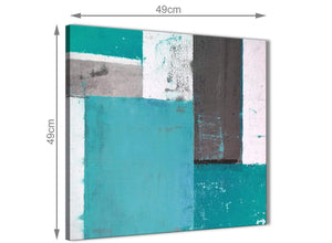 Chic Teal Grey Abstract Painting Canvas Wall Art Modern 49cm Square 1S344S For Your Living Room