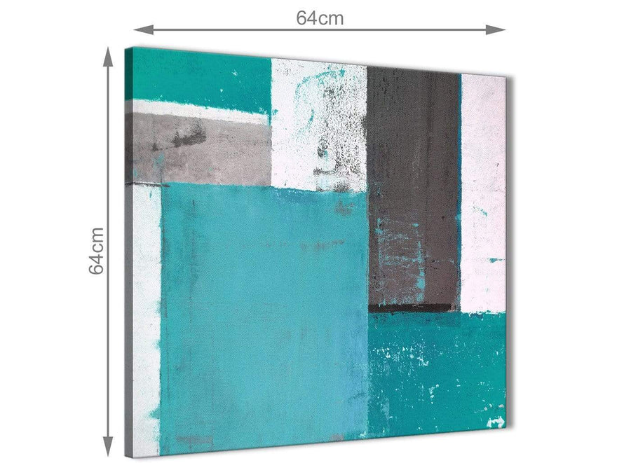 Chic Teal Grey Abstract Painting Canvas Wall Art Modern 64cm Square 1S344M For Your Living Room