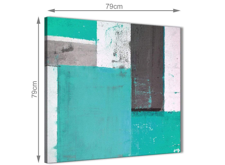 Chic Turquoise Grey Abstract Painting Canvas Wall Art Modern 79cm Square 1S345L For Your Living Room