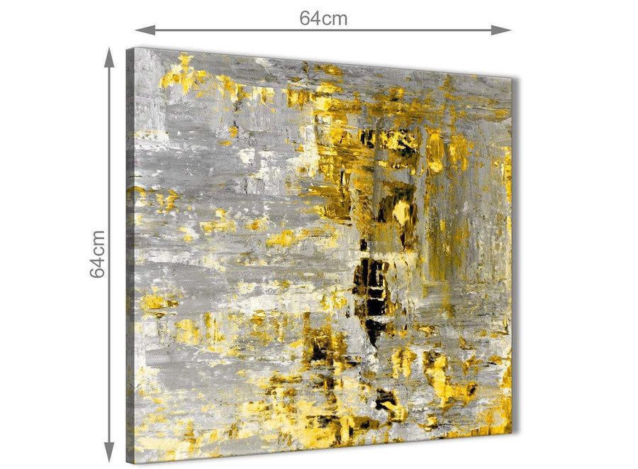 Chic Yellow Abstract Painting Wall Art Print Canvas Modern 64cm Square 1S357M For Your Dining Room