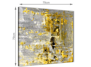 Chic Yellow Abstract Painting Wall Art Print Canvas Modern 79cm Square 1S357L For Your Kitchen