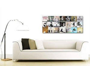 Contemporary Banksy Graffiti Collage Canvas Wall Art Modern 120cm Wide 1356 For Your Living Room