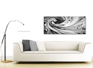 Contemporary Black White Grey Swirls Modern Abstract Canvas Wall Art Modern 120cm Wide 1354 For Your Kitchen