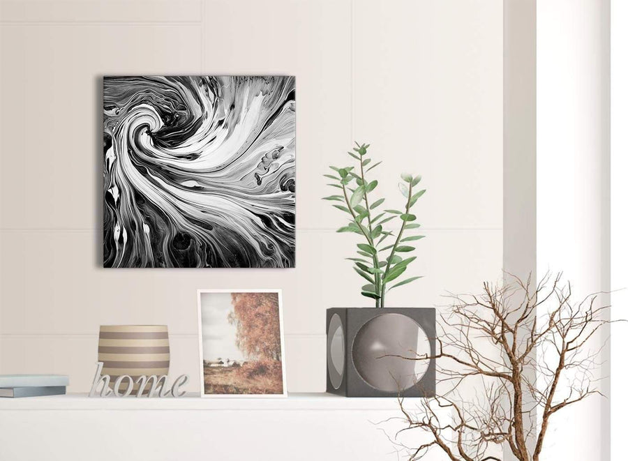 Contemporary Black White Grey Swirls Modern Abstract Canvas Wall Art Modern 49cm Square 1S354S For Your Living Room
