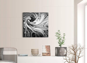 Contemporary Black White Grey Swirls Modern Abstract Canvas Wall Art Modern 64cm Square 1S354M For Your Kitchen