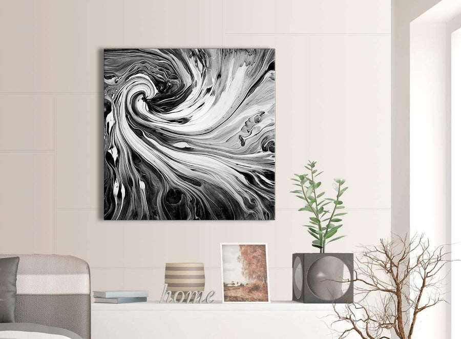 Contemporary Black White Grey Swirls Modern Abstract Canvas Wall Art Modern 79cm Square 1S354L For Your Kitchen