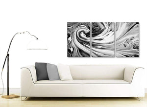 Contemporary Black White Grey Swirls Modern Abstract Canvas Wall Art Split 3 Part 125cm Wide 3354 For Your Living Room