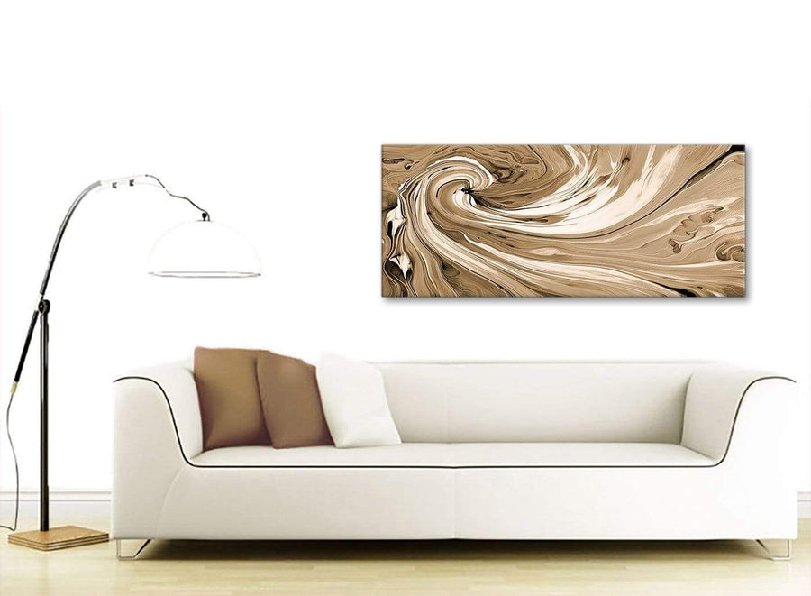 Contemporary Brown Cream Swirls Modern Abstract Canvas Wall Art Modern 120cm Wide 1349 For Your Living Room