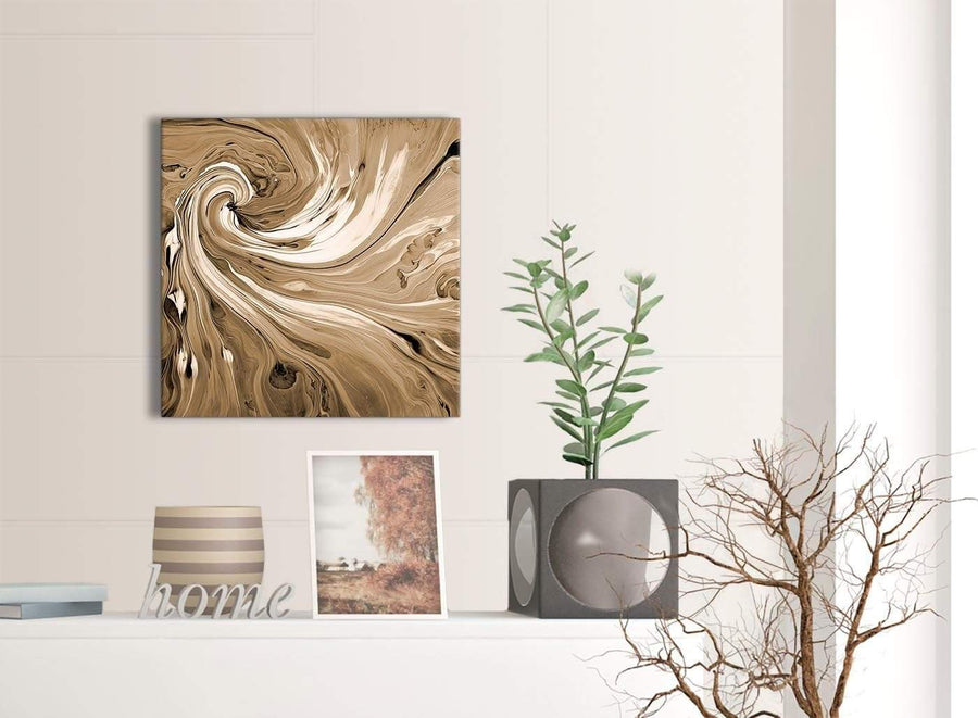 Contemporary Brown Cream Swirls Modern Abstract Canvas Wall Art Modern 49cm Square 1S349S For Your Dining Room