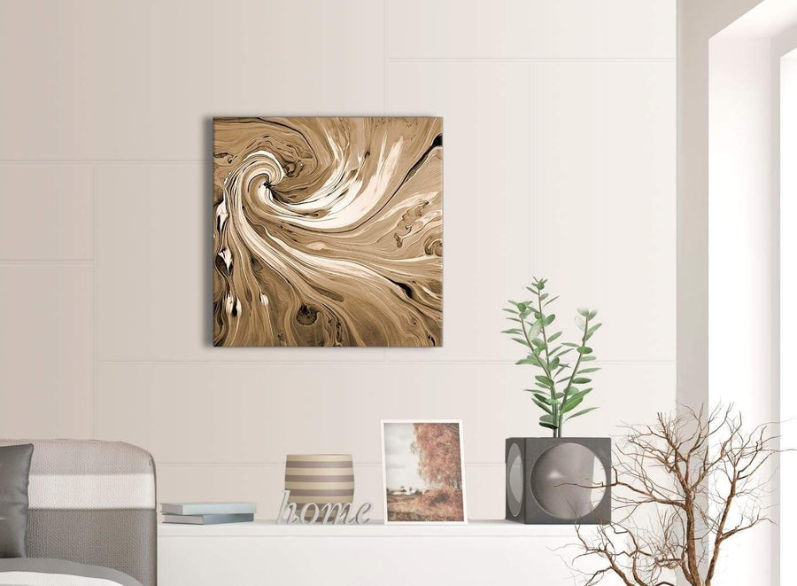 Contemporary Brown Cream Swirls Modern Abstract Canvas Wall Art Modern 64cm Square 1S349M For Your Dining Room