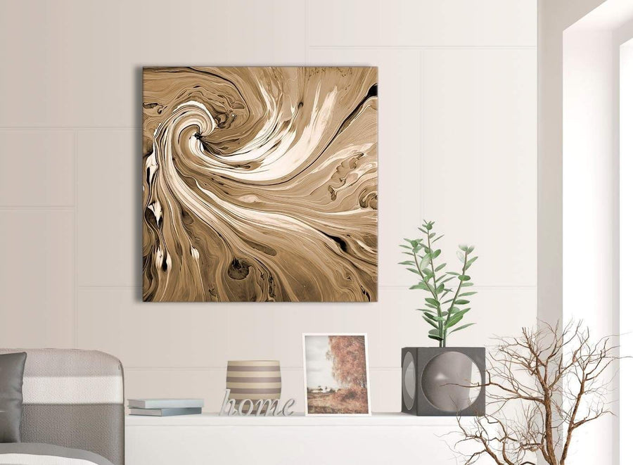 Contemporary Brown Cream Swirls Modern Abstract Canvas Wall Art Modern 79cm Square 1S349L For Your Kitchen