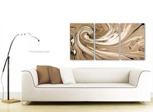 Contemporary Brown Cream Swirls Modern Abstract Canvas Wall Art Split 3 Panel 125cm Wide 3349 For Your Dining Room