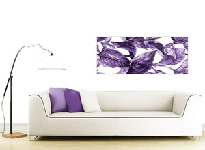 Contemporary Dark Purple White Tropical Exotic Leaves Canvas Modern 120cm Wide 1322 For Your Bedroom
