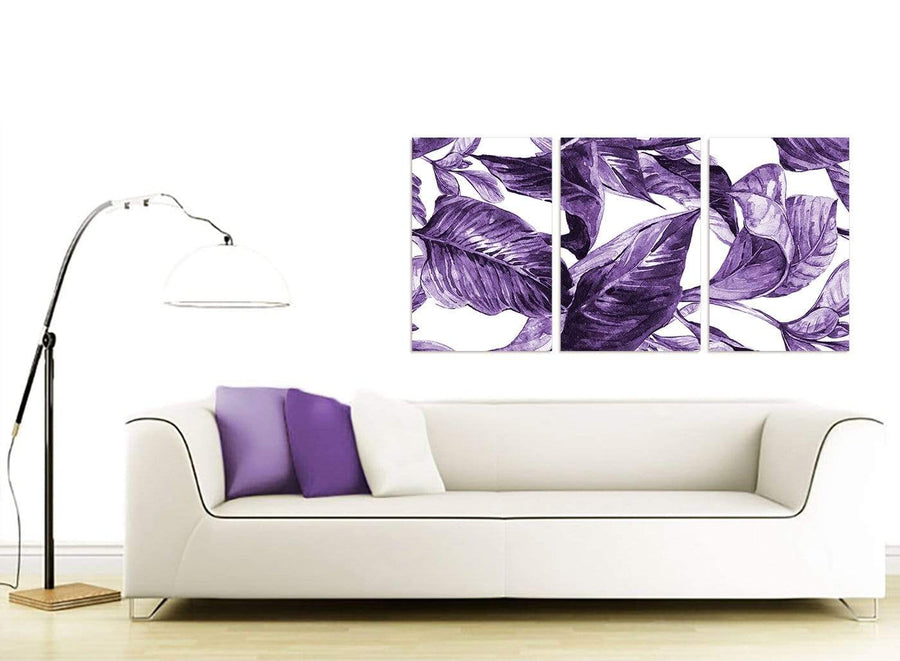 Contemporary Dark Purple White Tropical Exotic Leaves Canvas Split 3 Part 3322 For Your Bedroom