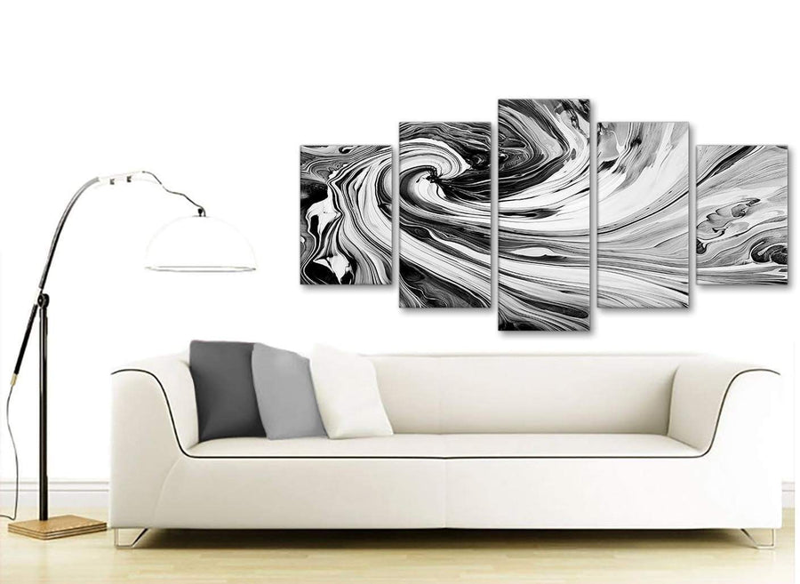Contemporary Extra Large Black White Grey Swirls Modern Abstract Canvas Wall Art Split 5 Piece 160cm Wide 5354 For Your Living Room