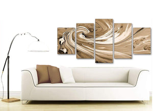 Contemporary Extra Large Brown Cream Swirls Modern Abstract Canvas Wall Art Split 5 Panel 160cm Wide 5349 For Your Living Room