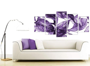 Contemporary Extra Large Dark Purple White Tropical Exotic Leaves Canvas Split 5 Set 5322 For Your Living Room