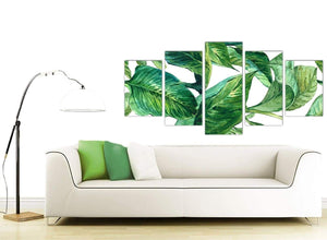 Contemporary Extra Large Green Palm Tropical Banana Leaves Canvas Split 5 Panel 5324 For Your Dining Room