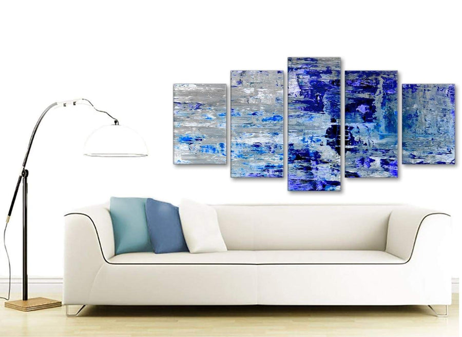 Contemporary Extra Large Indigo Blue Grey Abstract Painting Wall Art Print Canvas Split 5 Set 160cm Wide 5358 For Your Kitchen